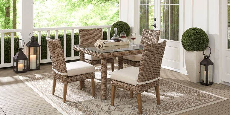 Siesta Key Driftwood 5 Pc 42 in. Square Outdoor Dining Set with Linen Cushions