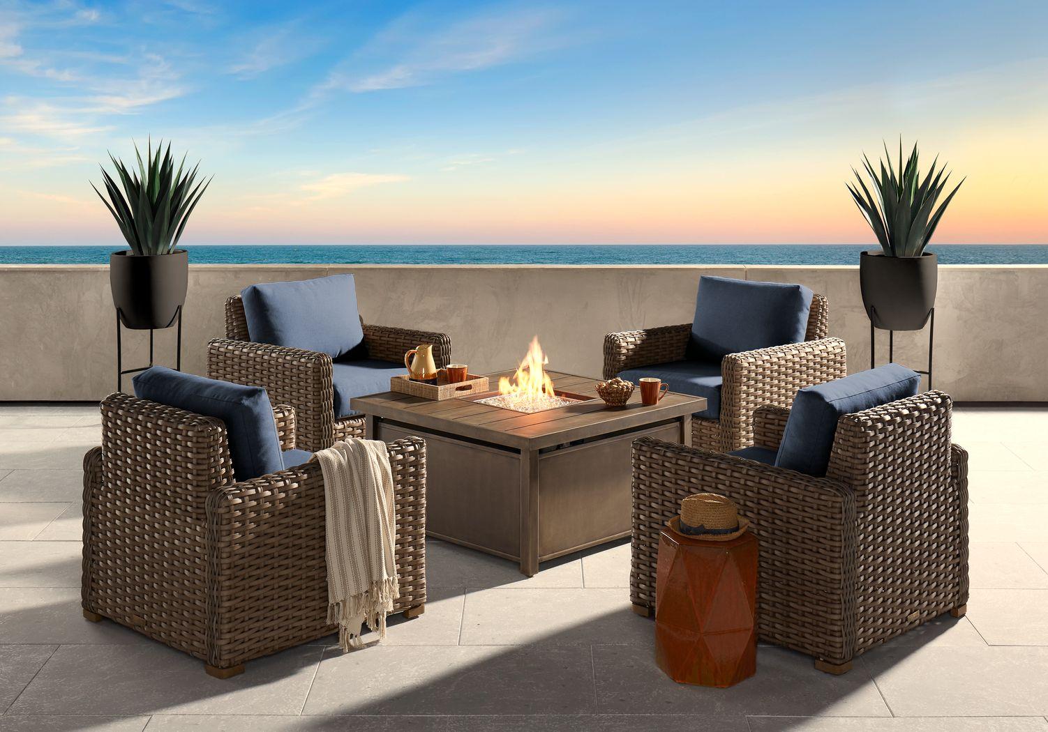 Siesta Key Driftwood 5 Pc Fire Pit Set with Indigo Cushions
