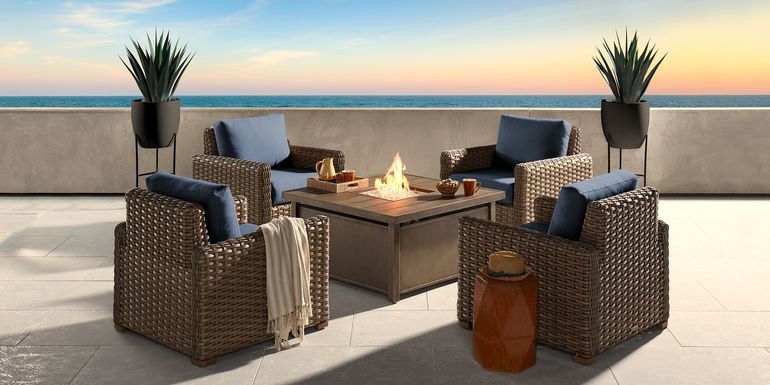 Siesta Key Driftwood 5 Pc Fire Pit Set with Indigo Cushions