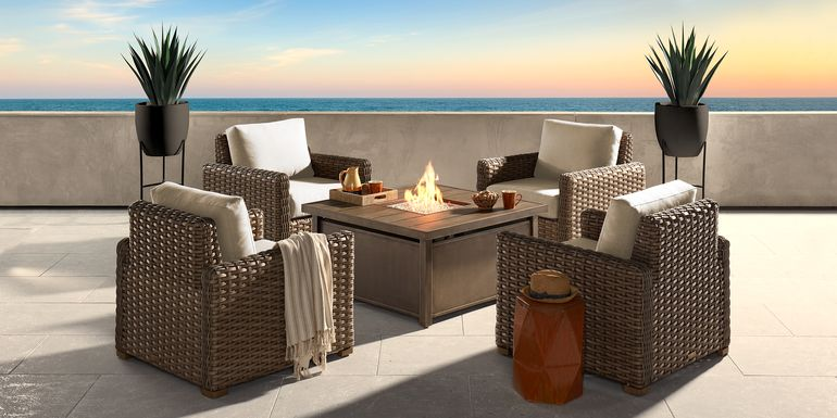 Siesta Key Driftwood 5 Pc Fire Pit Set with Linen Cushions