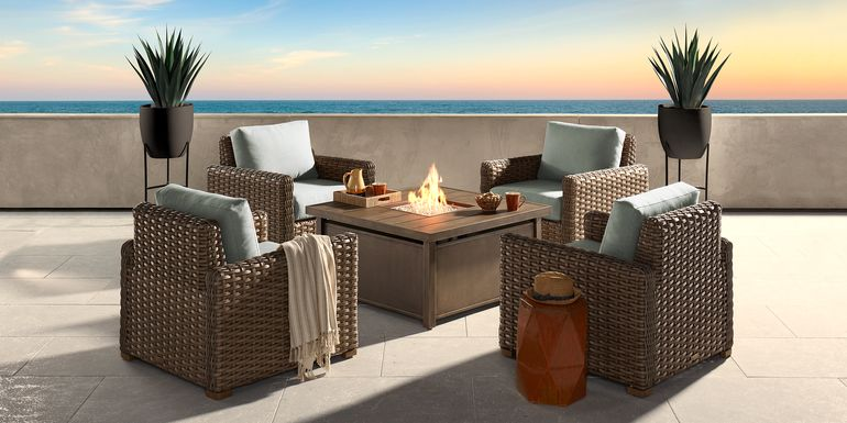 Siesta Key Driftwood 5 Pc Fire Pit Set with Mist Cushions