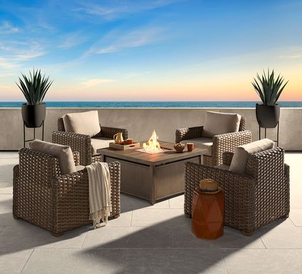 Siesta Key Driftwood 5 Pc Fire Pit Set with Sand Cushions
