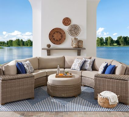 Siesta Key Driftwood 5 Pc Outdoor Curved Sectional with Sand Cushions