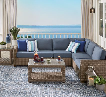 Siesta Key Driftwood 5 Pc Outdoor Seating Set with Indigo Cushions