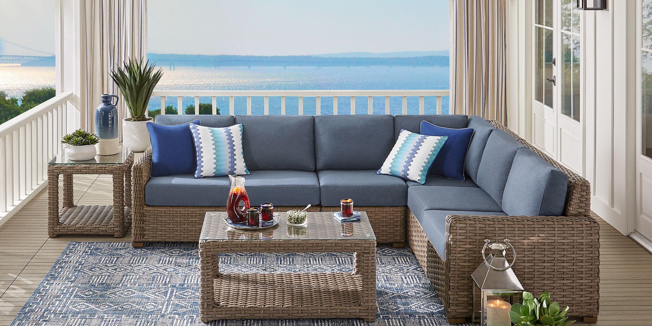 Siesta Key Driftwood 5 Pc Outdoor Seating Set with Indigo Cushions