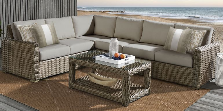 Siesta Key Driftwood 5 Pc Outdoor Seating Set with Sand Cushions