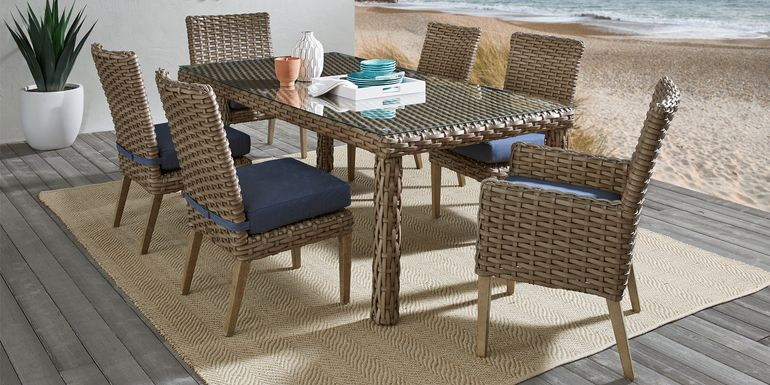 Siesta Key Driftwood 7 Pc 72 in. Rectangle Outdoor Dining Set with Indigo Cushions