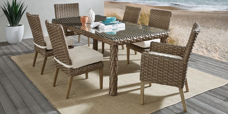 Siesta Key Driftwood 7 Pc 72 in. Rectangle Outdoor Dining Set with Linen Cushions