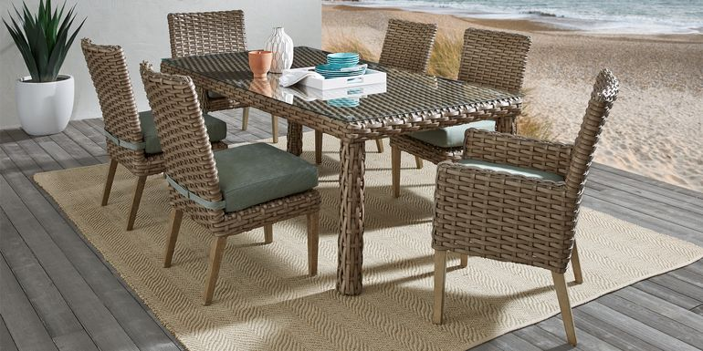 Siesta Key Driftwood 7 Pc 72 in. Rectangle Outdoor Dining Set with Mist Cushions