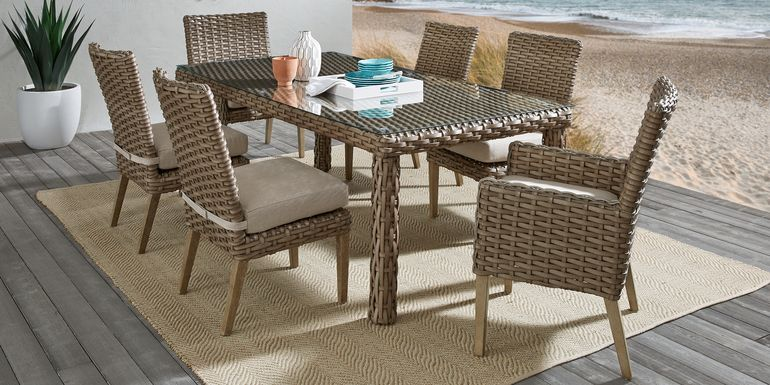 Siesta Key Driftwood 7 Pc 72 in. Rectangle Outdoor Dining Set with Sand Cushions