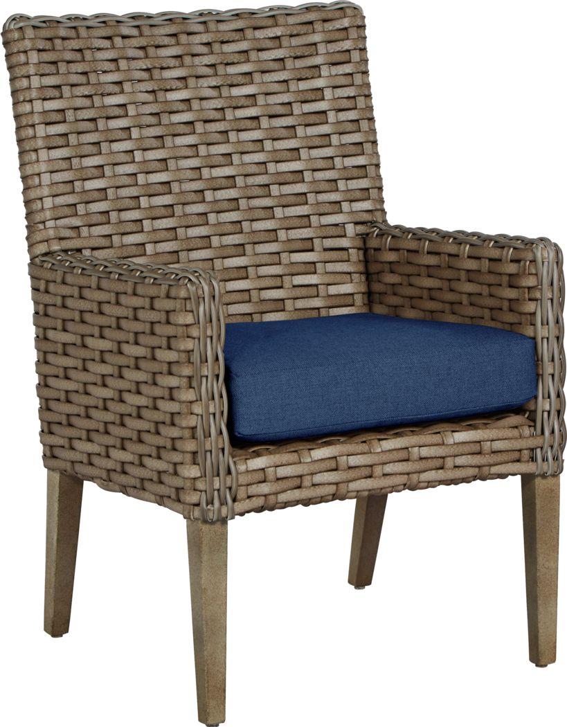 Siesta Key Driftwood Outdoor Arm Chair with Indigo Cushion