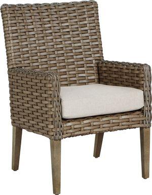 Siesta Key Driftwood Outdoor Arm Chair with Linen Cushion