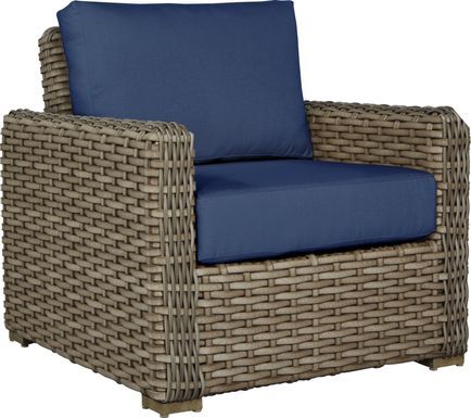 Siesta Key Driftwood Outdoor Chair with Indigo Cushions
