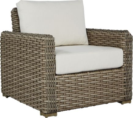 Siesta Key Driftwood Outdoor Chair with Linen Cushions
