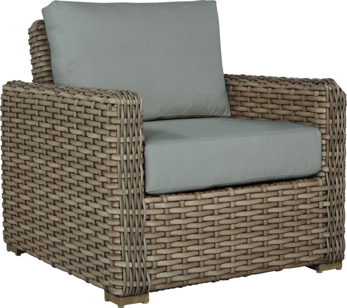 Siesta Key Driftwood Outdoor Chair with Mist Cushions