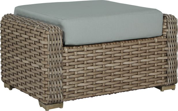Siesta Key Driftwood Outdoor Ottoman with Mist Cushion