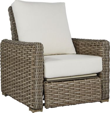 Siesta Key Driftwood Outdoor Recliner with Linen Cushions