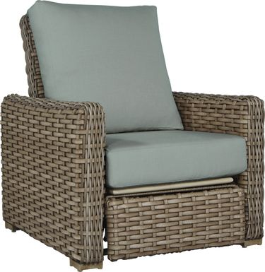 Siesta Key Driftwood Outdoor Recliner with Mist Cushions