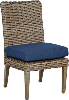 Siesta Key Driftwood Outdoor Side Chair with Indigo Cushion