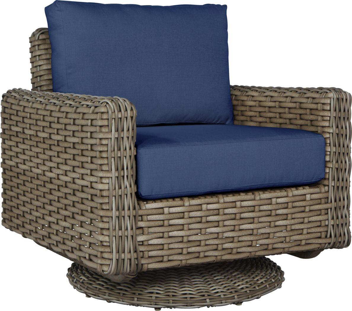 Siesta Key Driftwood Outdoor Swivel Chair with Indigo Cushions