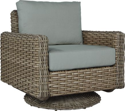 Siesta Key Driftwood Outdoor Swivel Chair with Mist Cushions