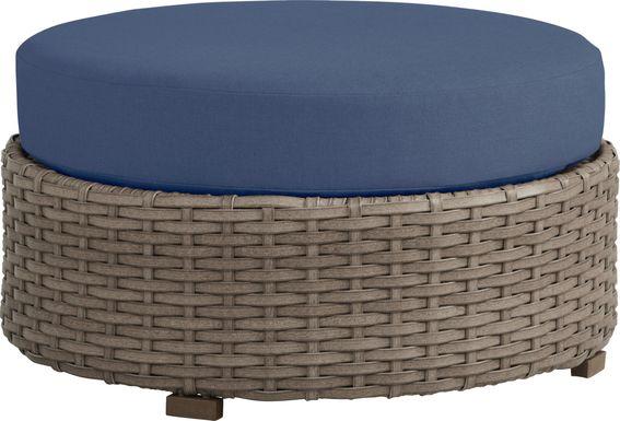 Siesta Key Driftwood Round Outdoor Ottoman with Indigo Cushions