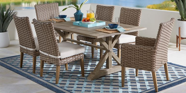 Siesta Key Light Wood 7 Pc 76 in. Rectangle Outdoor Dining Set