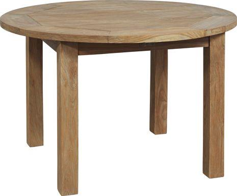 Siesta Key Teak 47 in. Round Outdoor Dining Table