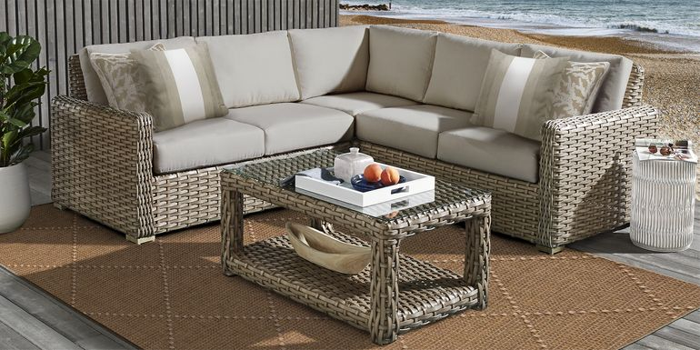 Siesta Key Driftwood 3 Pc Outdoor Sectional with Sand Cushions