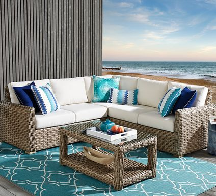 Siesta Key Driftwood 3 Pc Outdoor Sectional with Linen Cushions
