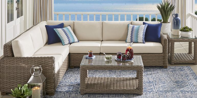 Siesta Key Driftwood 5 Pc Outdoor Seating Set with Linen Cushions