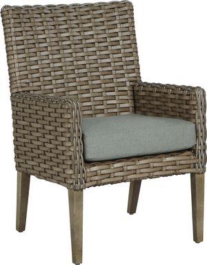 Siesta Key Driftwood Outdoor Arm Chair with Mist Cushion