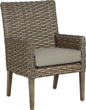 Siesta Key Driftwood Outdoor Arm Chair with Sand Cushion