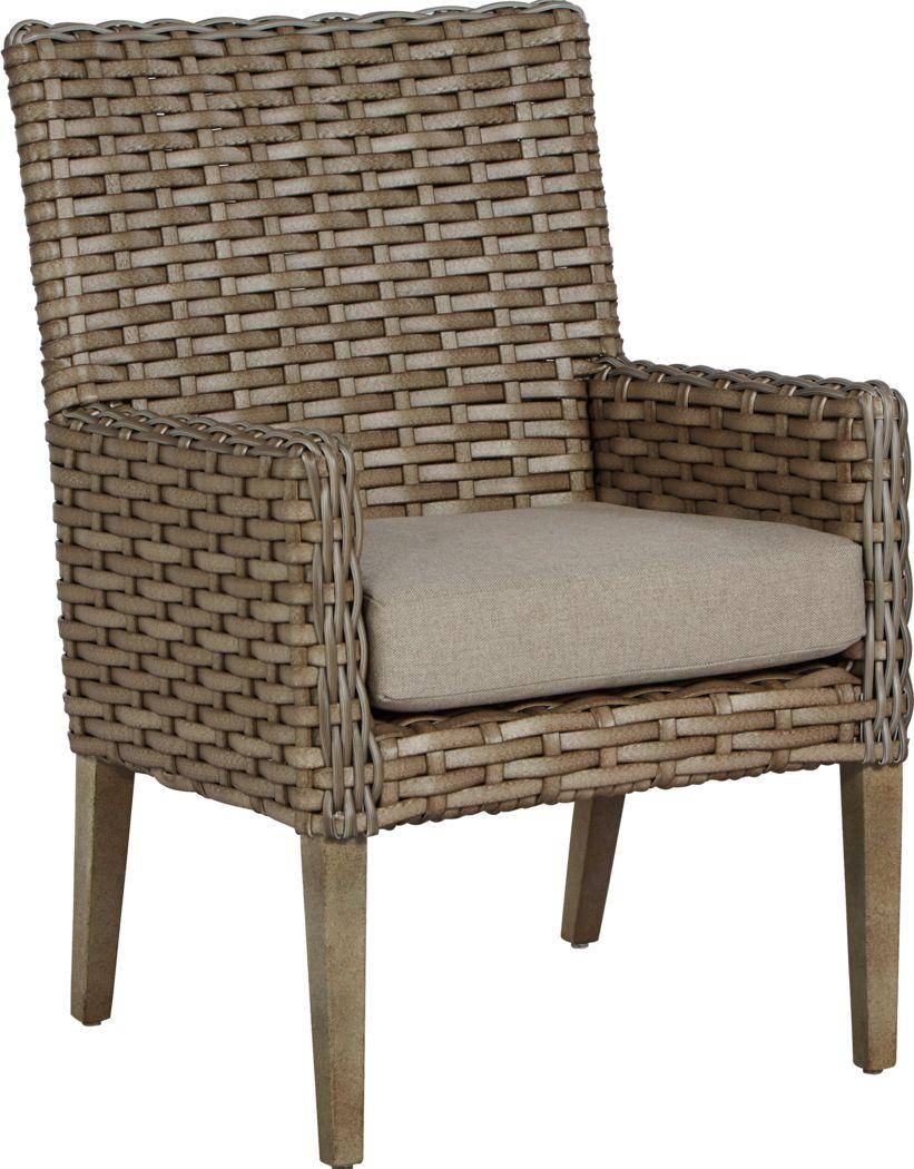 Siesta Key Driftwood Outdoor Arm Chair with Sand Cushion