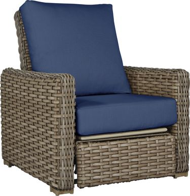 Siesta Key Driftwood Outdoor Recliner with Indigo Cushions