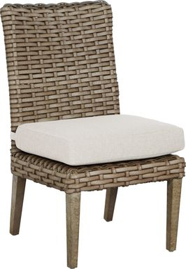 Siesta Key Driftwood Outdoor Side Chair with Linen Cushion