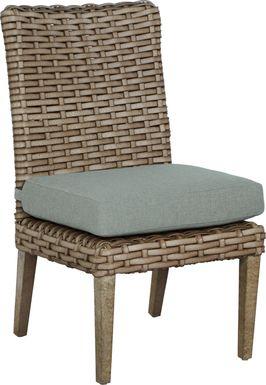 Siesta Key Driftwood Outdoor Side Chair with Mist Cushion