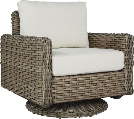 Siesta Key Driftwood Outdoor Swivel Chair with Linen Cushions