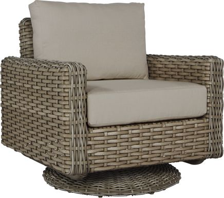 Siesta Key Driftwood Outdoor Swivel Chair with Sand Cushions