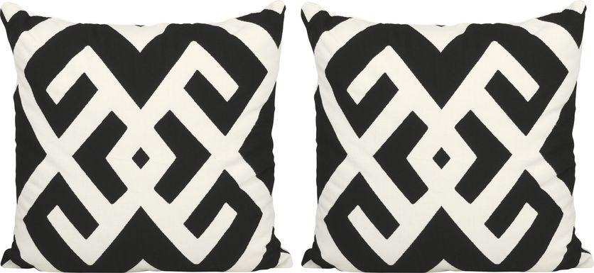 BW Sassandra Black Indoor/Outdoor Pillows, Set of 2