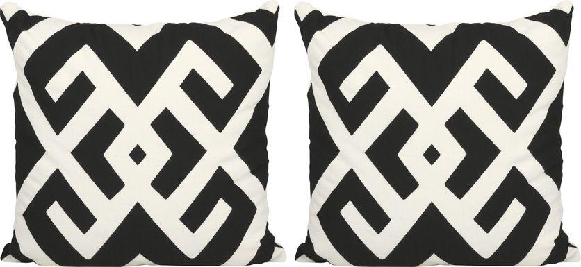 Simah Black Indoor/Outdoor Pillows, Set of 2