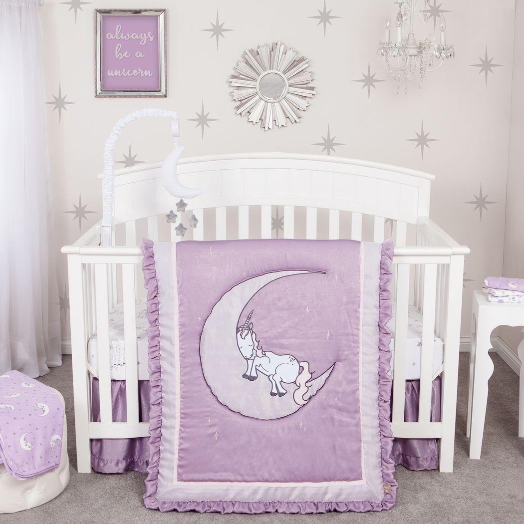 Image of: Sleepy Unicorn Lilac 3 Pc Baby Bedding Set Rooms To Go