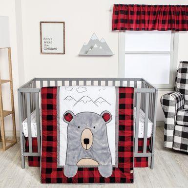 Slumbering Bear Red 3 Pc Baby Bedding Set