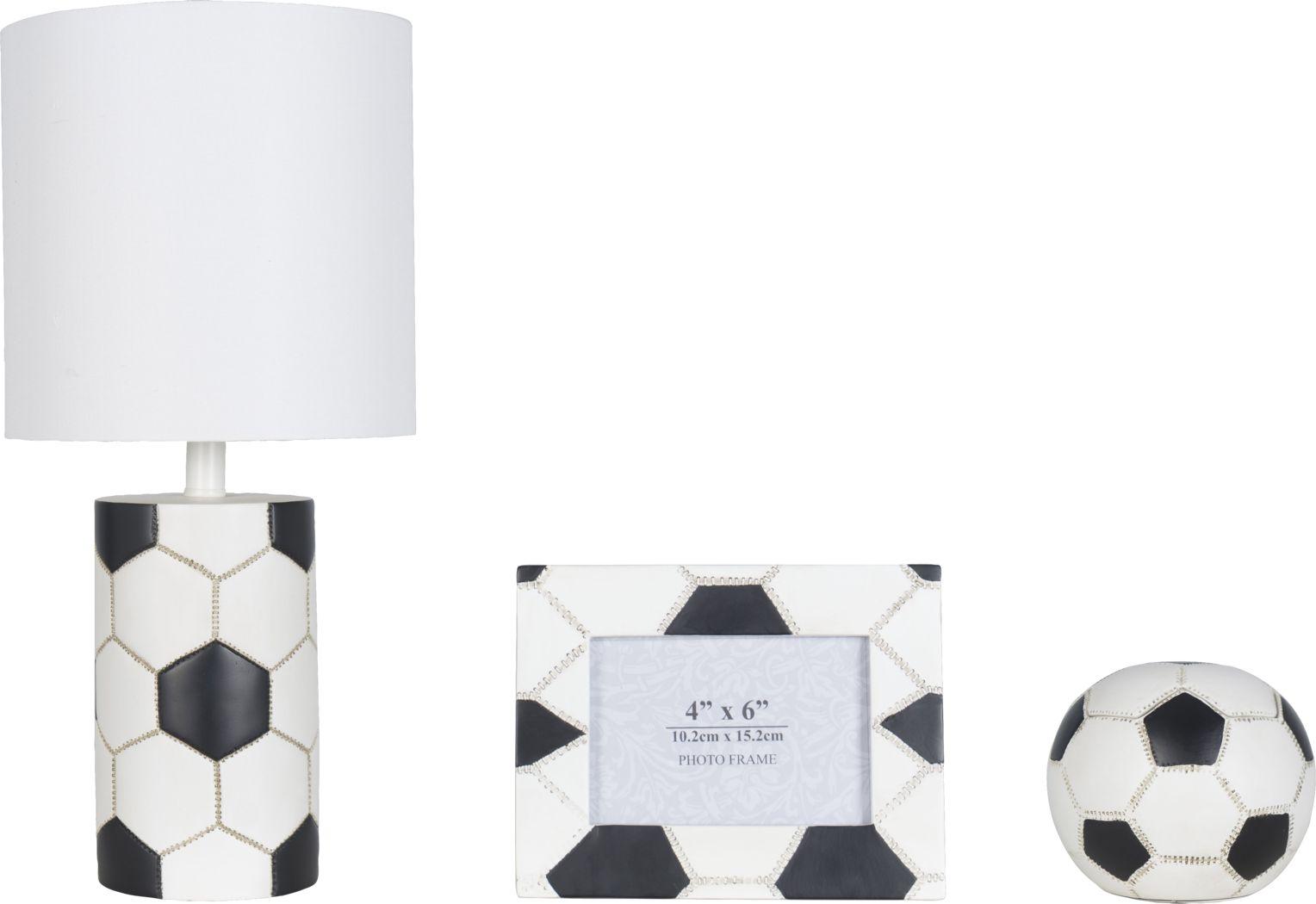 Kids Soccer Zone White 3 Pc Lamp Set
