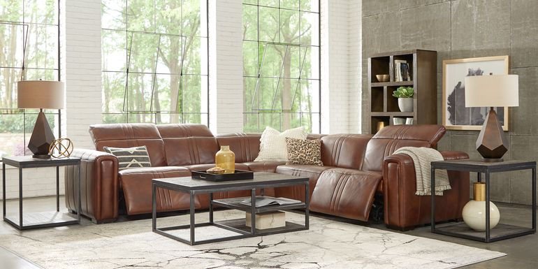Sofia Vergara Bennett Valley Brown 5 Pc Leather Dual Power Reclining Sectional