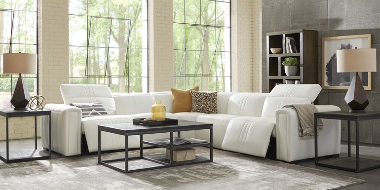 Sofia Vergara Bennett Valley White 5 Pc Leather Dual Power Reclining Sectional