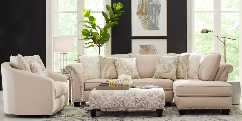 Sofia Vergara Claremont Beige 3 Pc Sectional Living Room