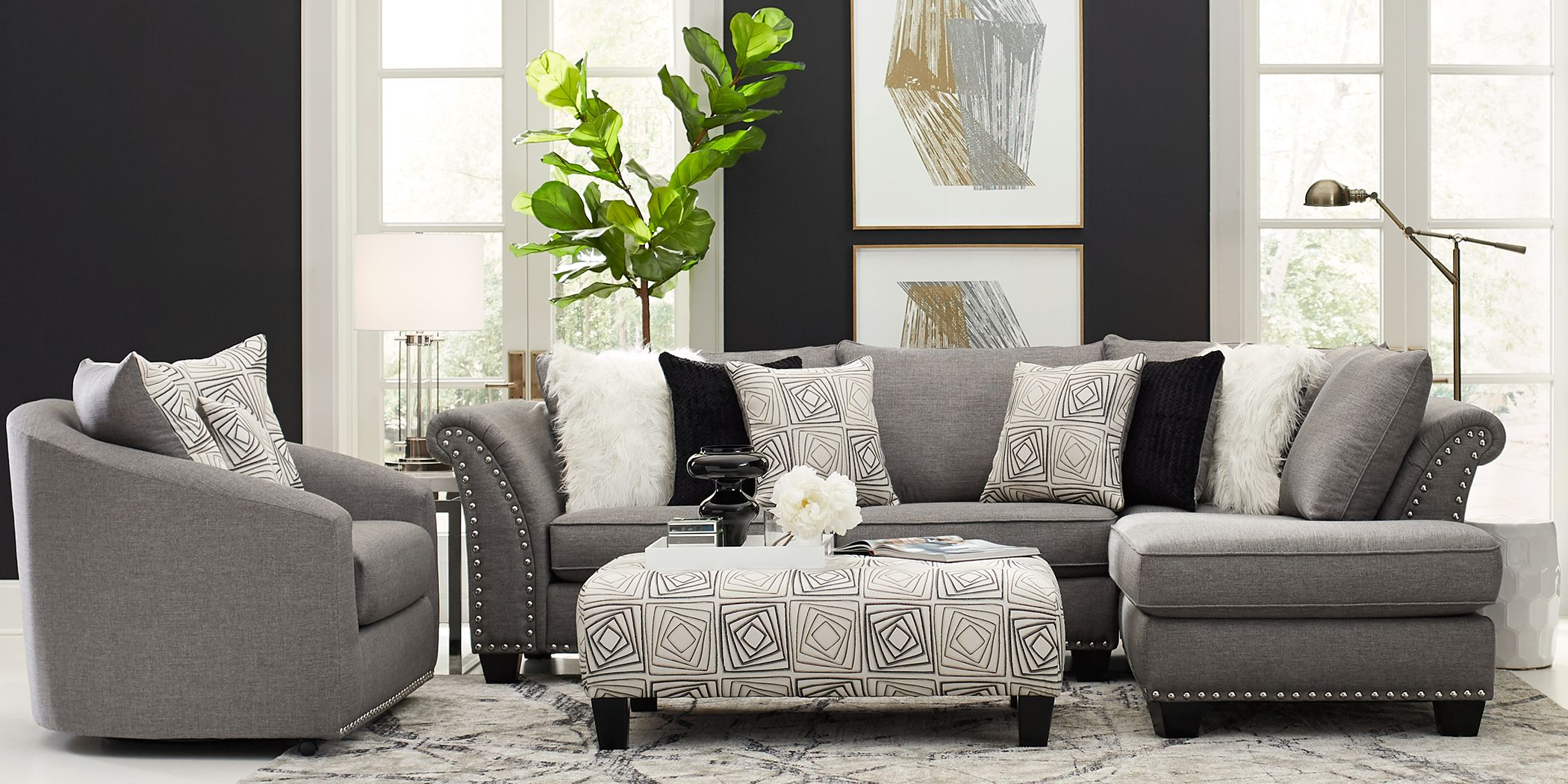Sofia Vergara Claremont Gray 5 Pc Sectional Living Room