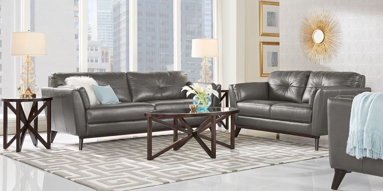 Sofia Vergara Gabriele Gray 2 Pc Leather Living Room