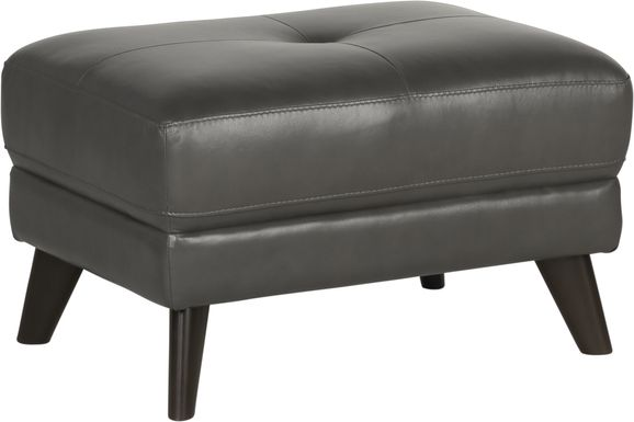 Sofia Vergara Gabriele Gray Leather Ottoman